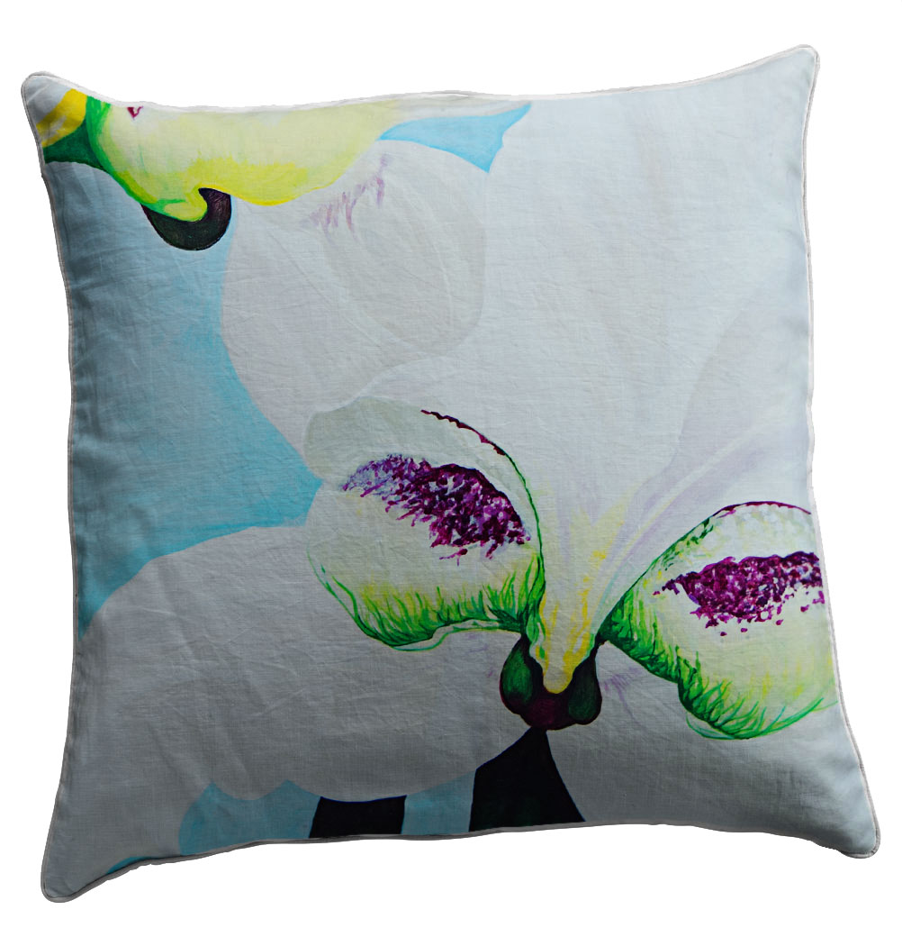 Buy 100% cotton scatter cushion covers online. Featuring Disperis fanniniae these colourfast washable fabrics will bring colour to any room!