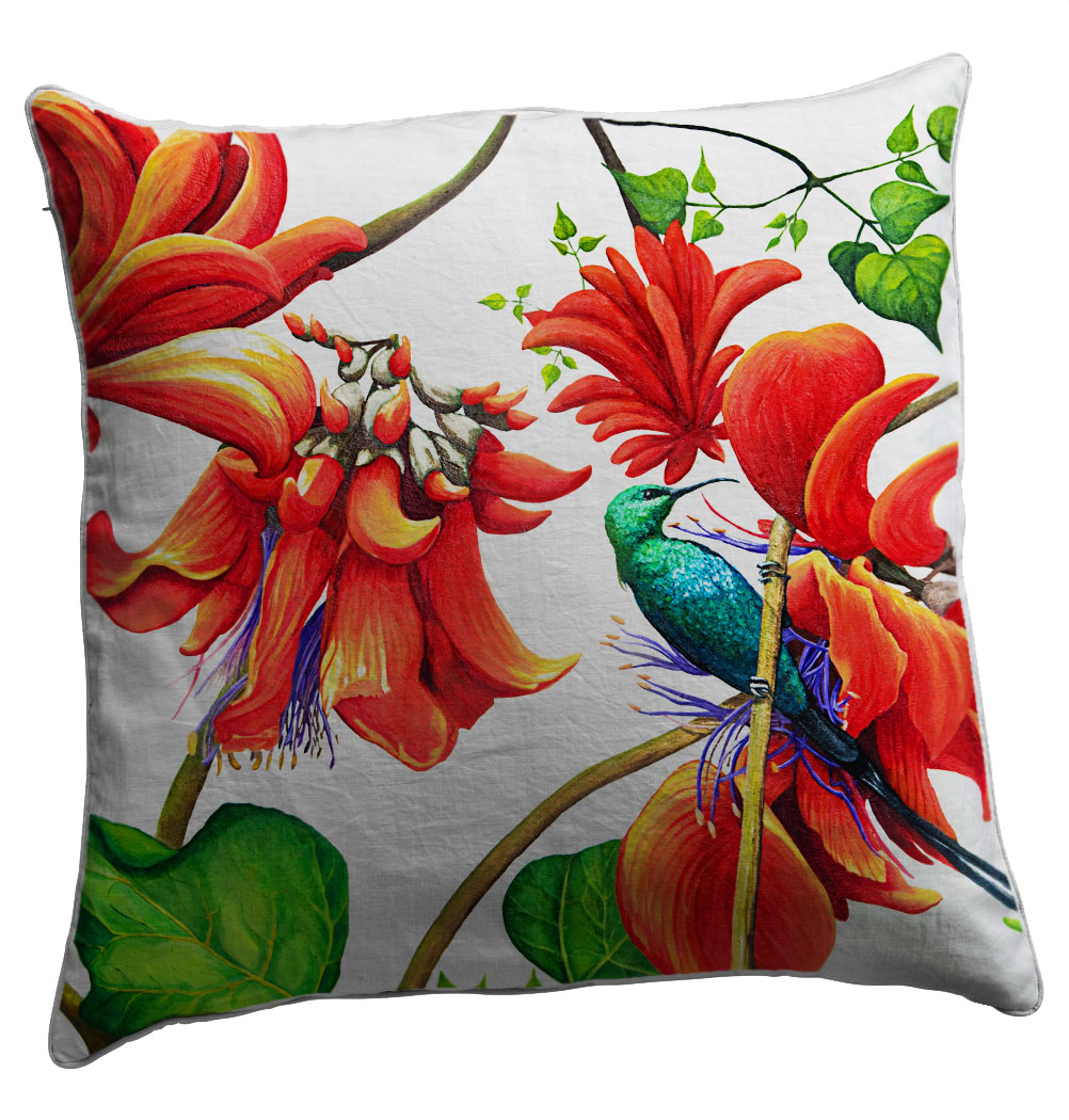 Buy 100% cotton scatter cushion covers online. Featuring coral trees (Erythrina) these colourfast washable fabrics will bring colour to any room!
