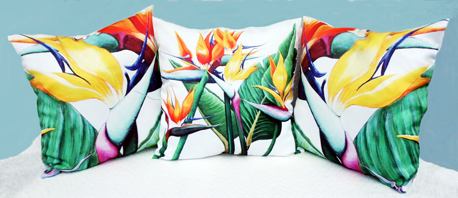 Fabulous flowers cushions covers by Helen Dodge