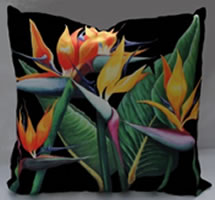 Majestic Scatter Cushion Cover - Black. Featuring strelitzias on black backround these colourfast washable fabrics will bring colour to any room!